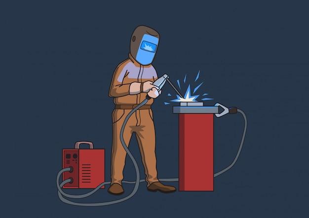 Soldador com máscara protetora no trabalho. ilustração dos desenhos animados, em fundo escuro.