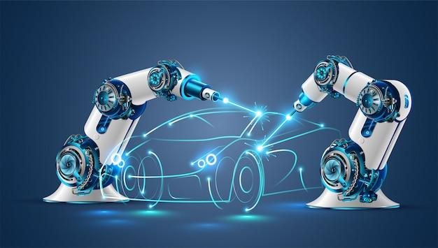 Soldador de robô na indústria automobilística