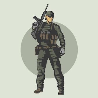 Soldados armados prontos para a guerra