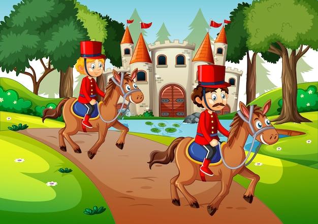 Soldados cavalgando na cena do castelo