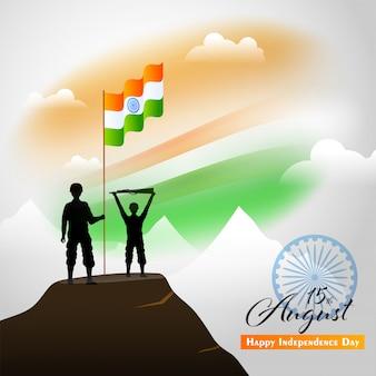 Soldados de silhueta segurando uma bandeira indiana ondulada na montanha e desfocar o dia da independência de fundo tricolor.