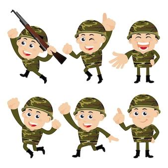 Soldados do exército em diferentes poses