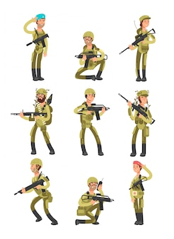 Soldados dos desenhos animados em várias ações. militares com armas. pessoas no set de exército