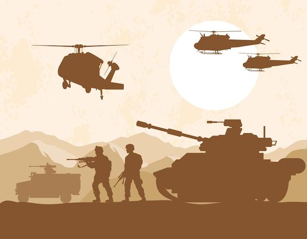 Soldados e veículos de guerra
