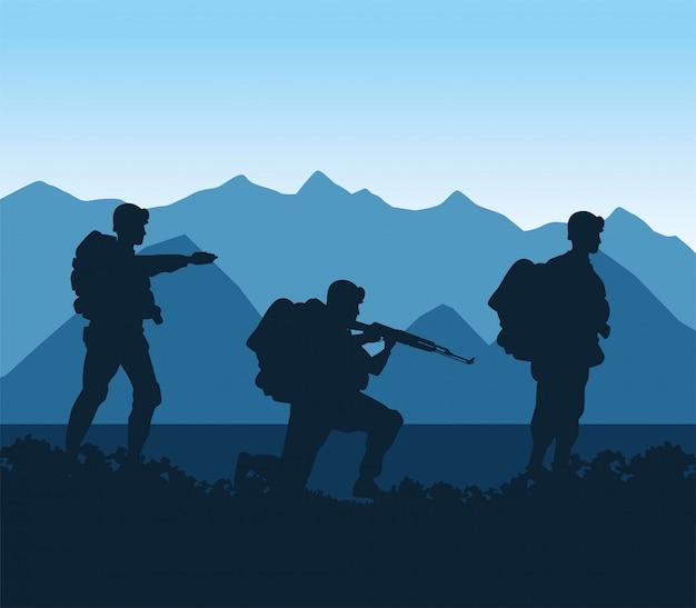 Soldados figuram silhuetas na cena do acampamento