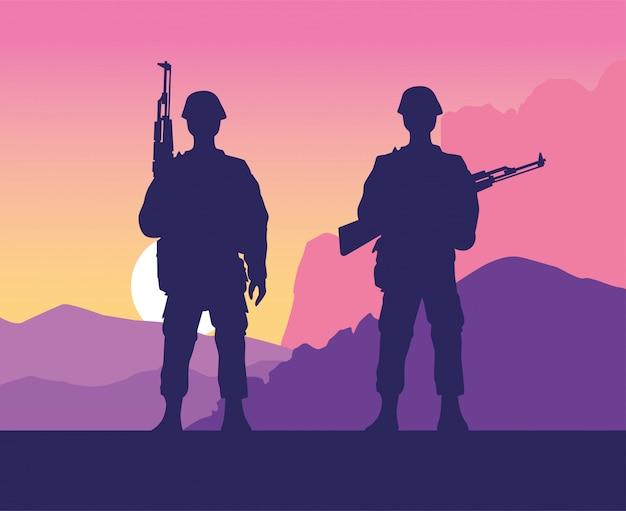 Soldados figuras silhuetas na cena do pôr do sol
