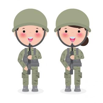 Soldados homem e mulher. personagem de desenho animado plana isolada no branco. exército dos eua, ilustração isolada de soldados.