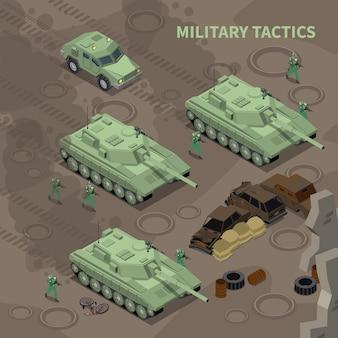 Soldados ilustrados isométricos de táticas militares com rifles avançando sob a cobertura de veículos militares pesados