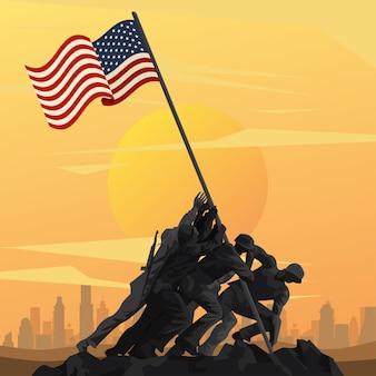 Soldados levantando bandeira no mastro no design de ilustração de cena do sol