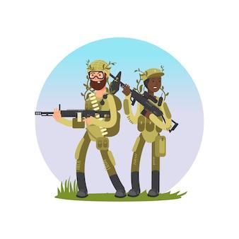 Soldados masculinos e femininos cartum design de personagens