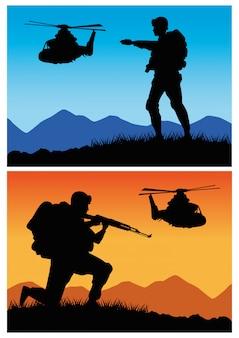 Soldados militares com silhuetas de armas e helicópteros