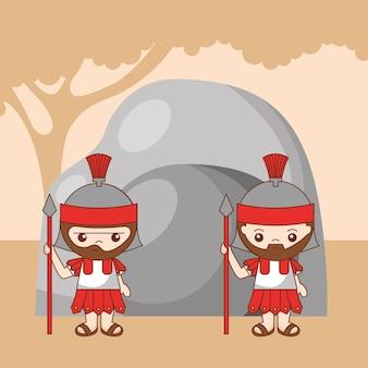 Soldados romanos guardando o túmulo de desenhos animados de cristo, ilustração dos desenhos animados