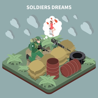 Soldados sonha composição isométrica com atirador sentado entrincheirado e lembrando sua namorada