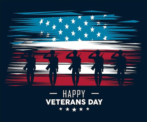 Soldados veteranos saudando