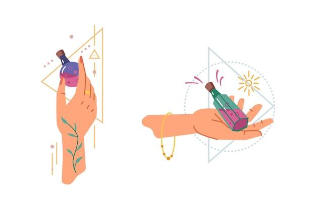 Soletra mãos mágicas com poção milagrosa de bruxaria