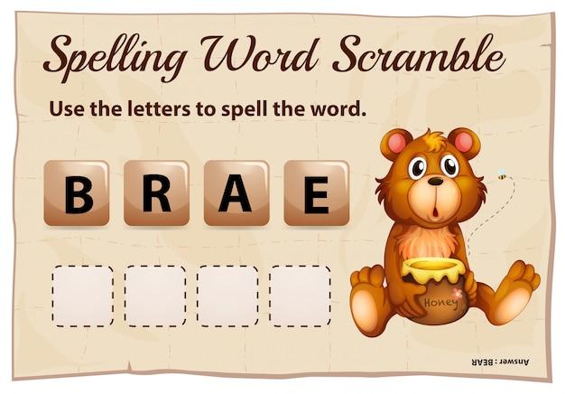 Soletração palavra corrida para palavra urso