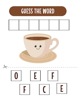 Soletrando o jogo de palavras com a ilustração da palavra café
