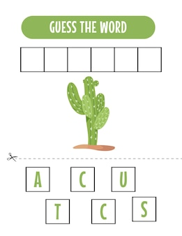 Soletrando um jogo de palavras com ilustração de cacto