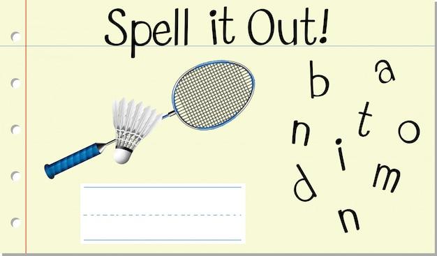 Soletrar a palavra em inglês badminton