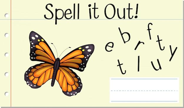 Soletrar a palavra em inglês borboleta
