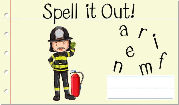 Soletrar bombeiro da palavra em inglês