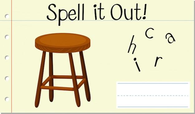 Soletrar cadeira de palavras em inglês