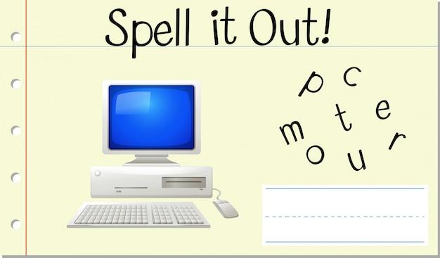 Soletrar computador com palavras em inglês
