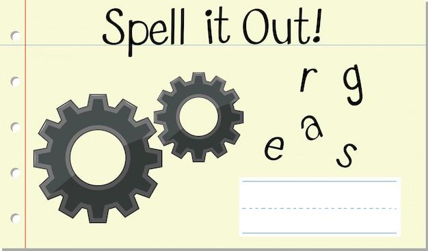 Soletrar engrenagens de palavras em inglês