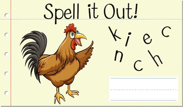 Soletrar frango palavra inglês