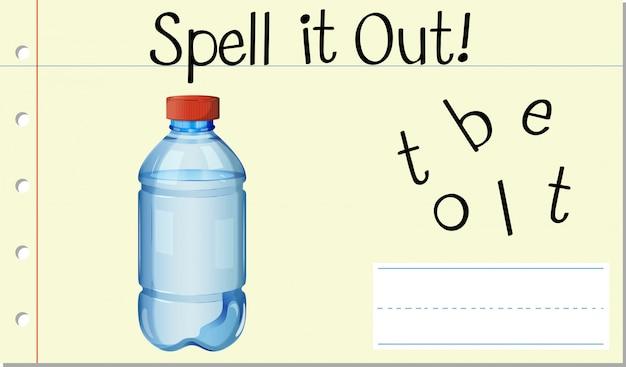 Soletrar garrafa de palavra em inglês