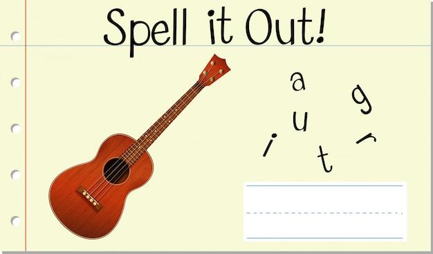 Soletrar guitarra de palavra em inglês