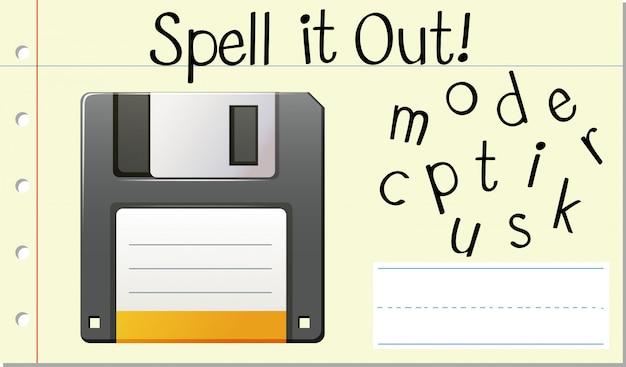 Soletrar inglês disco de computador palavra