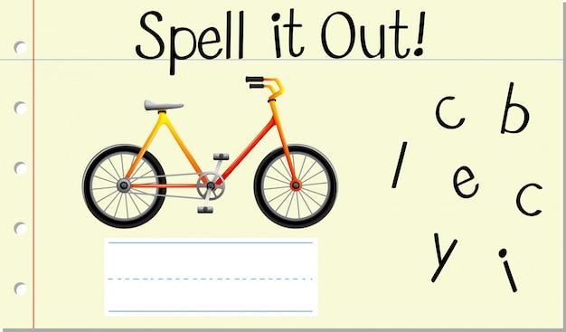 Soletrar inglês palavra bicicleta