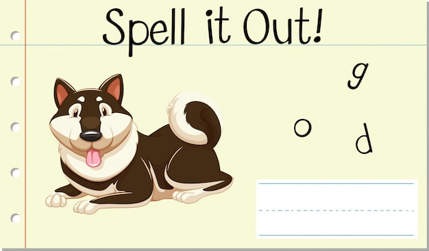 Soletrar inglês palavra cachorro