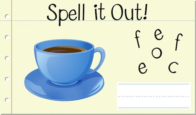 Soletrar inglês palavra café