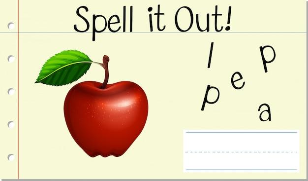 Soletrar, inglês, palavra, maçã