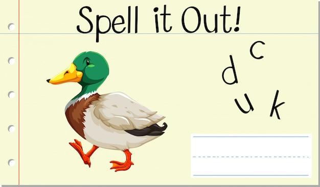 Soletrar inglês palavra pato