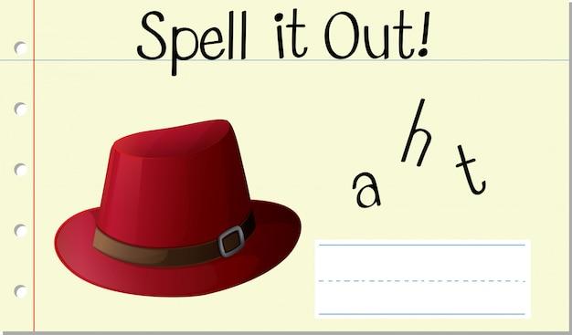 Soletrar o chapéu da palavra em inglês