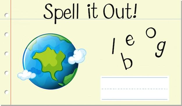 Soletrar o globo da palavra em inglês