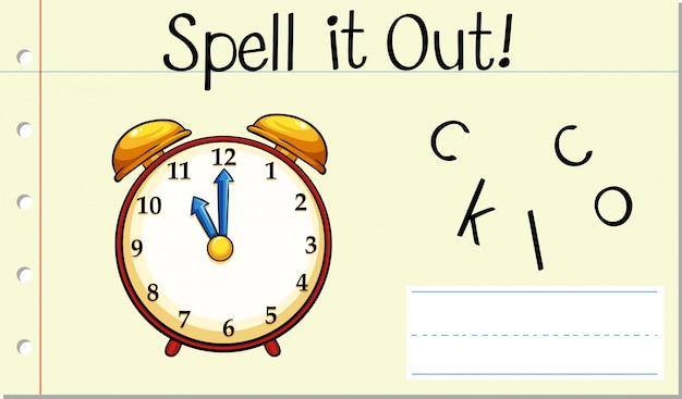 Soletrar o relógio de palavra em inglês