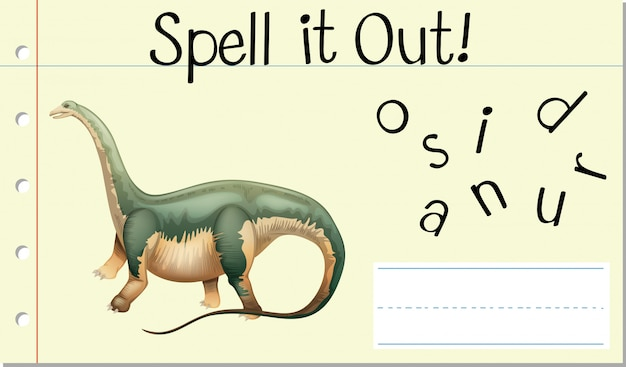 Soletrar palavra dinossauro em inglês