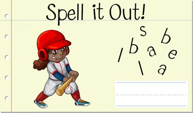 Soletrar palavra em inglês beisebol