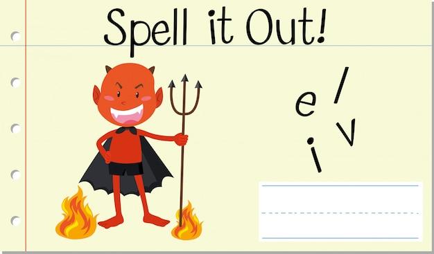 Soletrar palavra em inglês diabo