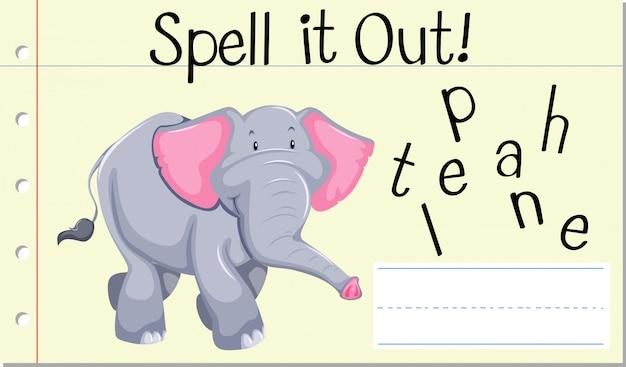 Soletrar palavra em inglês elefante