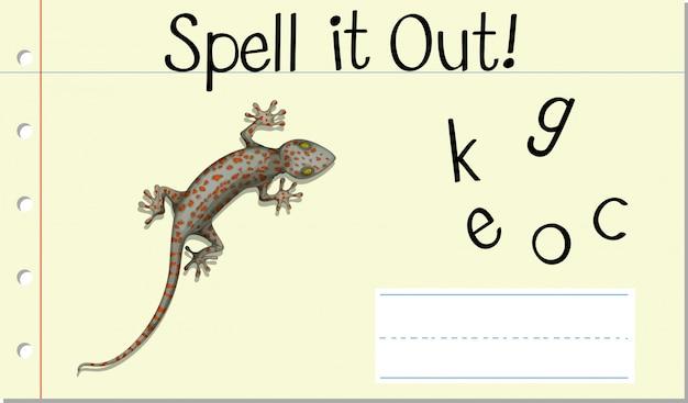 Soletrar palavra em inglês gecko