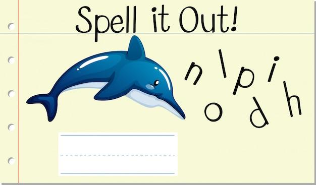 Soletrar palavra em inglês golfinho