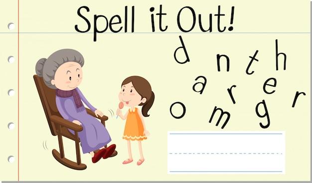 Soletrar palavra inglesa avó