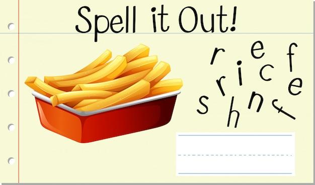 Soletrar palavra inglesa batatas fritas