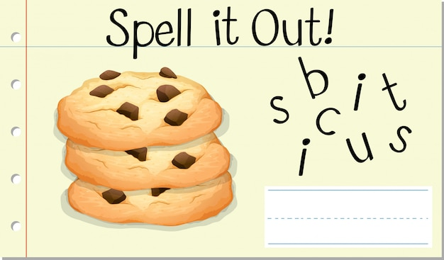Soletrar palavra inglesa biscoito