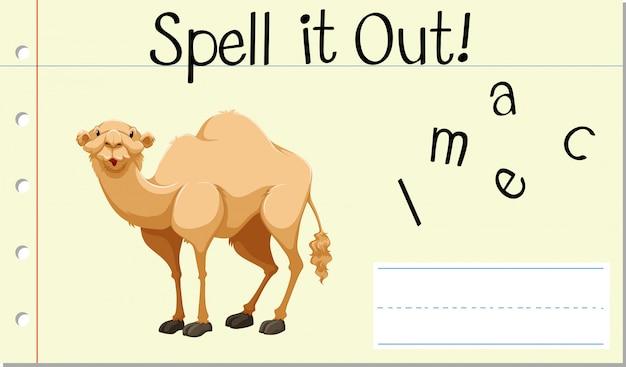 Soletrar palavra inglesa camelo